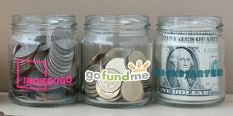 gofundme alternatives : Change jars labeled with Indiegogo, gofundme, and Kickstarter logos