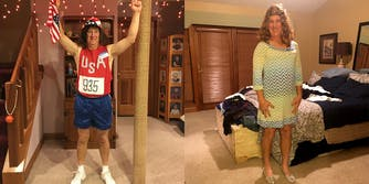 Man dressed as Caitlyn Jenner pre and post-transition