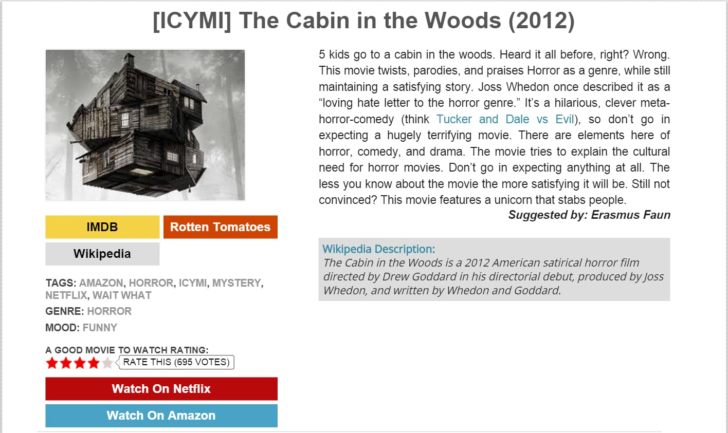 Do yourself a favor and just watch this one without looking up the synopsis.