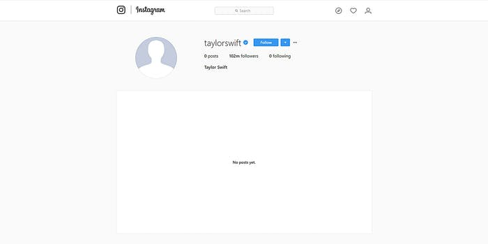 Taylor Swift Instagram with no posts and no icon