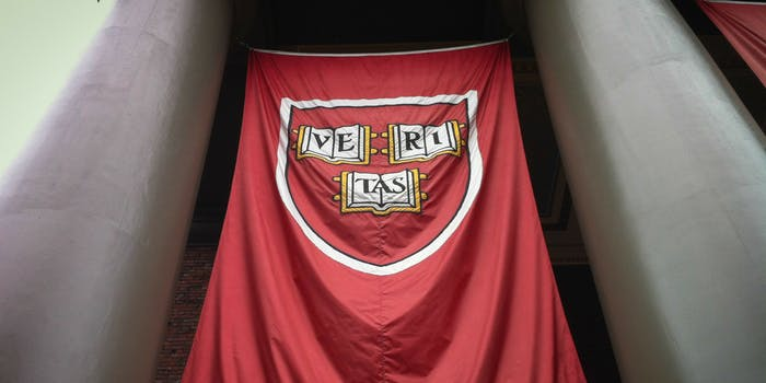 A flag of the Harvard crest