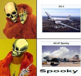 spooky plane meme skeleton drake