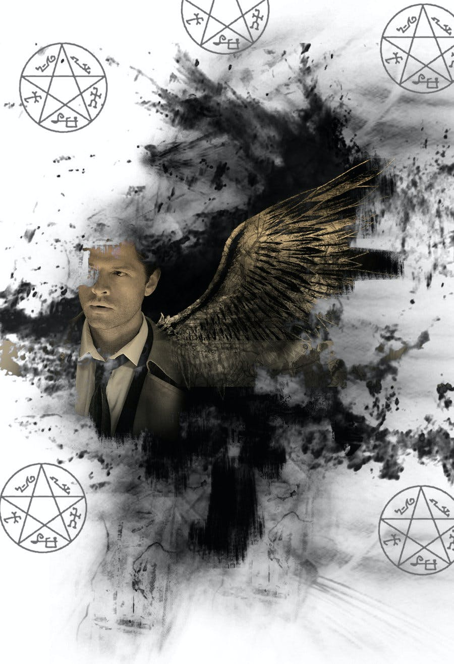 Tarot deck based on the TV show Supernatural featuring the angel Castiel as the 5 of Pentacles