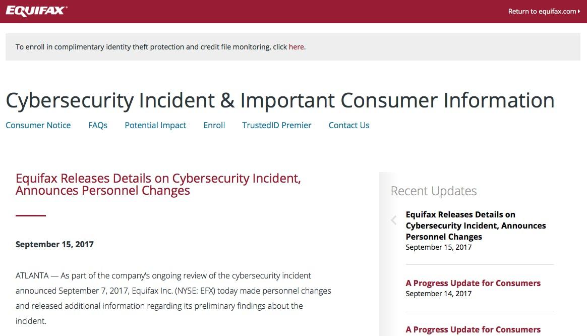 Equifax security website