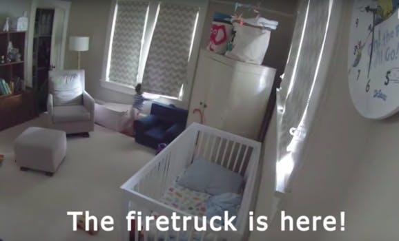fire truck video: little kid loves fire trucks