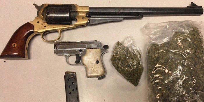 Antique guns and bags of marijuana