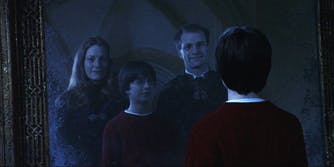 Harry Potter seeing his parents in the Mirror of Erised