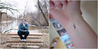 Amy Bleuel semicolon tattoo