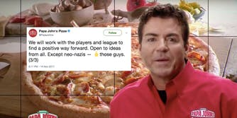 Papa John's tweets out a middle-finger emoji against neo-Nazi backlash.