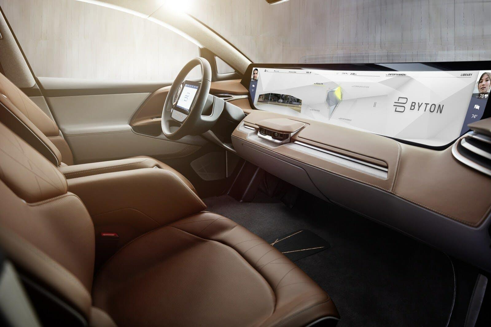 byton electric self-driving car interior display