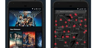 MoviePass app screen grabs, main screen and theater locations