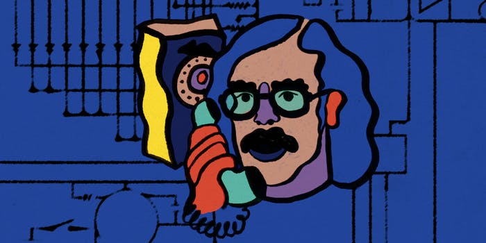 Illustration of John Draper (also known as Captain Crunch) using a rotary telephone.