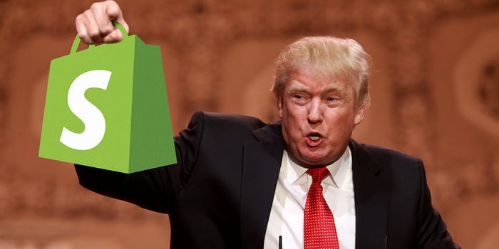 Donald Trump holding Shopify bag
