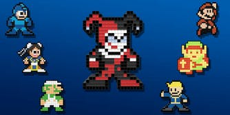 Mega Man, Chun-Li, Luigi, Mario, Link, Fallout Vault Boy, and Harley Quinn Pixel Pals 8-bit renderings