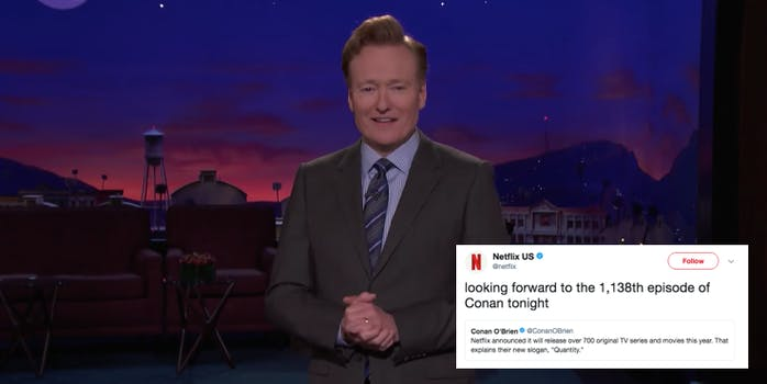 Conan OBrien delivering a monologue on his show