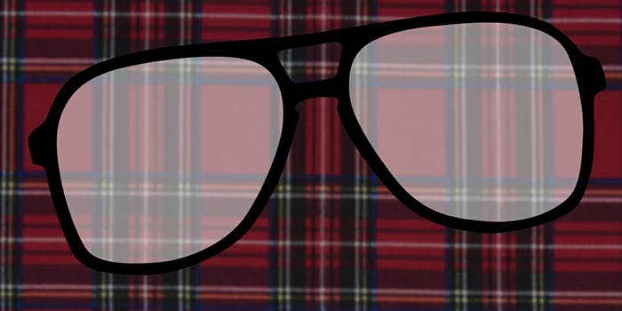 An illustration of plaid and large glasses typically worn by photographer Terry Richardson