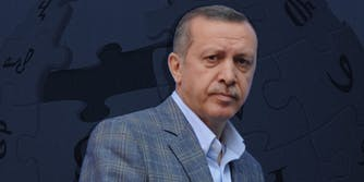 Erdogan over Wikipedia logo
