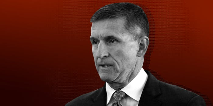 Michael Flynn on red background