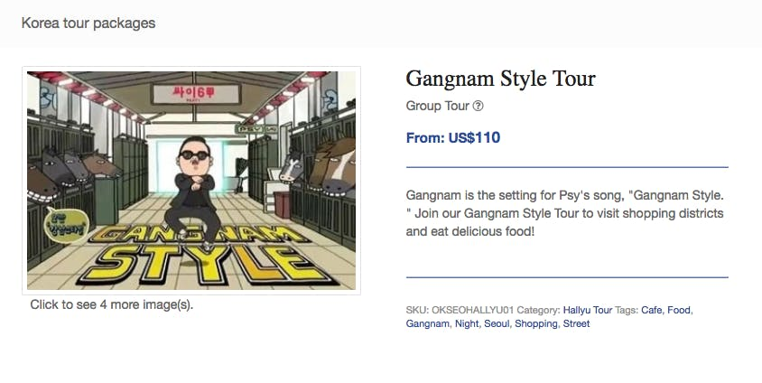 psy gangnam style tour offered