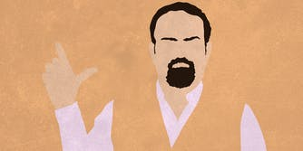 Illustration of Seb Gorka with his hand in the shape of a pistol