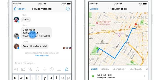 Request Uber on Facebook Messenger