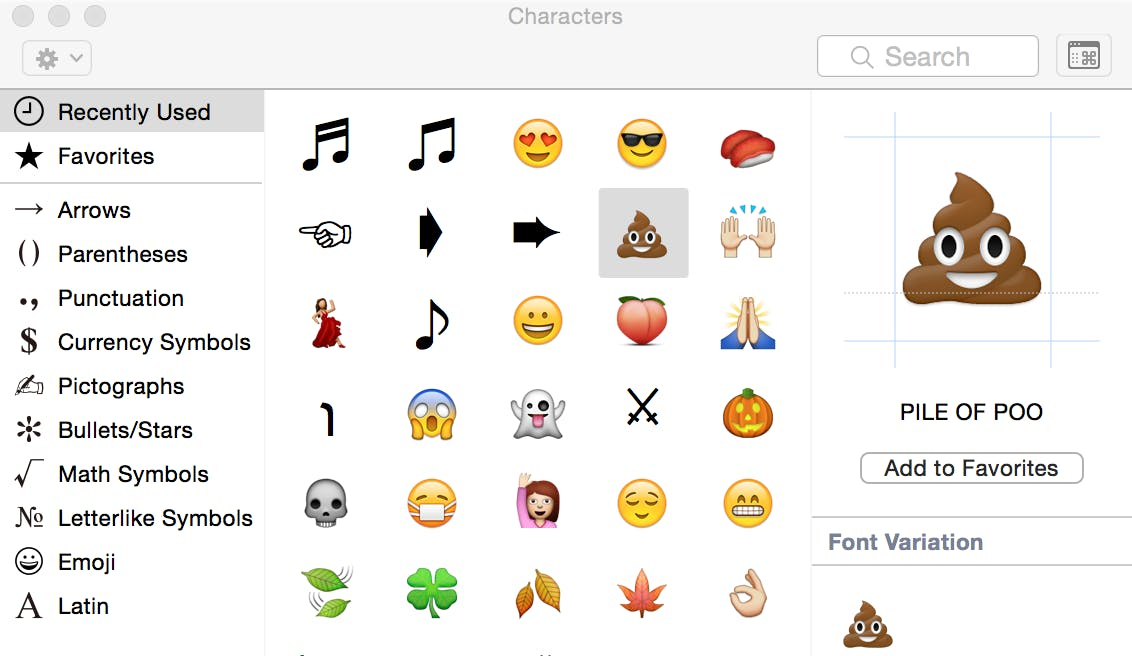 The special-character menu in OS X.