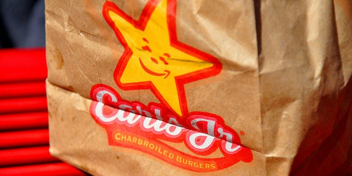 Carls Jr and Amazon logo mashup on a paper bag