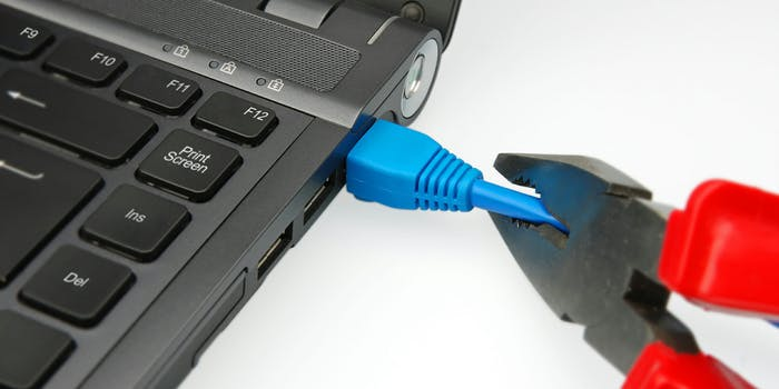 Cutting the ethernet cable from a laptop