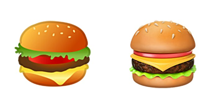 Google and Apple iOS cheeseburger emoji