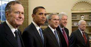 one america appeal: George HW Bush, Barack Obama, George W Bush, Bill Clinton, and Jimmy Carter