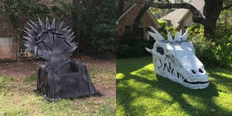 Iron Throne and Dragon skull