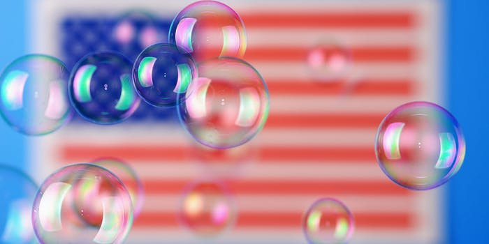 Bubbles in front of American flag