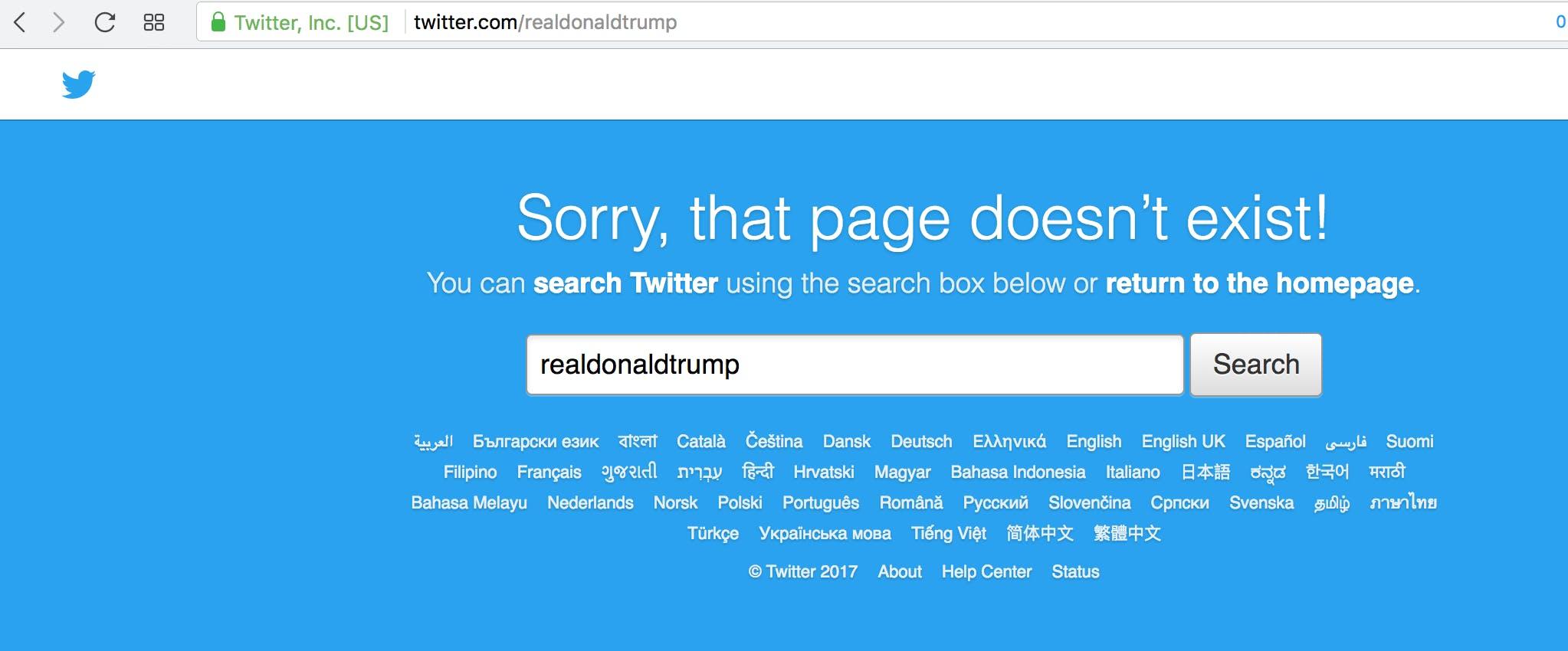 Trump Twitter Gone