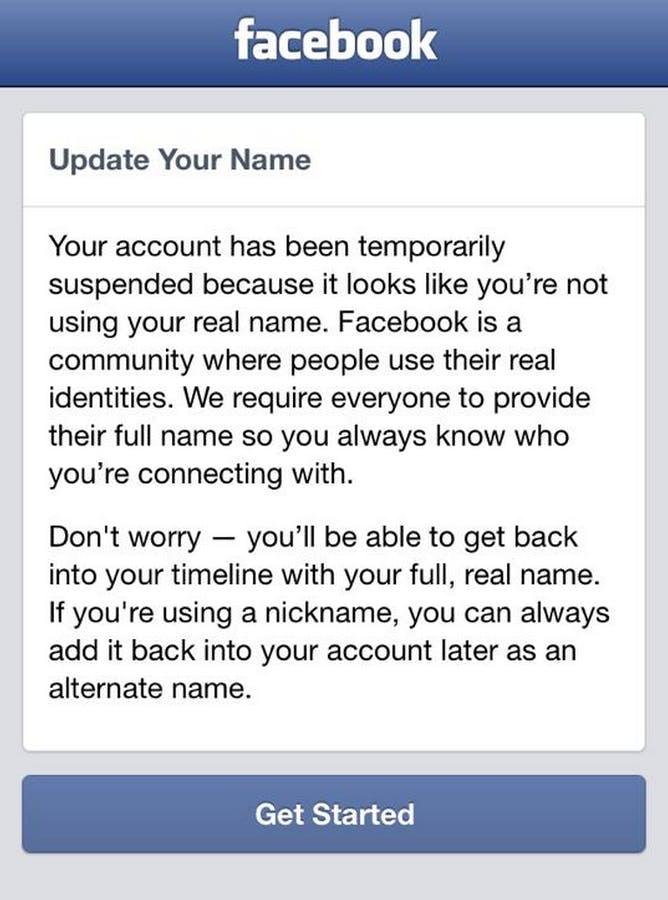 Facebook suspended account
