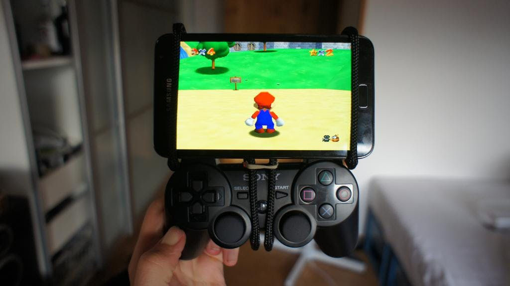 PS3 controller rigged to a Galaxy Note