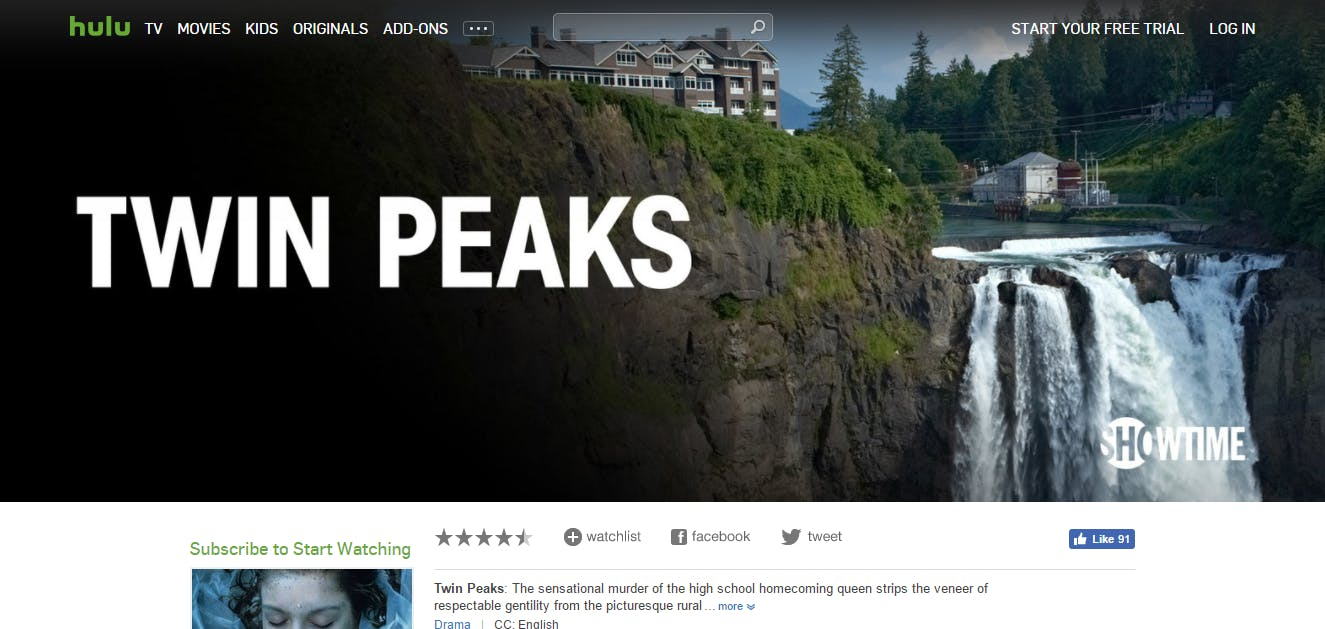 How to watch Twin Peaks hulu