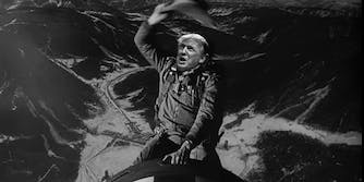 Donald Trump riding the bomb from Dr Strangelove