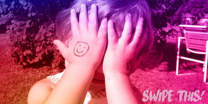 Child covering face under Instagram color filter