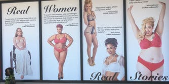 """""""Real Women, Real Stories"""" lingerie ad"""