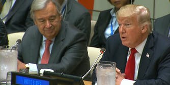 Donald Trump speaks at the United Nations on Sept. 18, 2017.