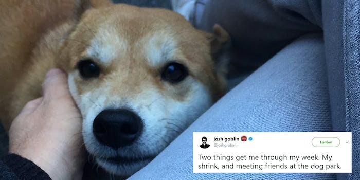 """Josh Groban tweet at dog park before shooting """"Two things get me through my week. My shrink, and meeting friends at the dog park."""""""