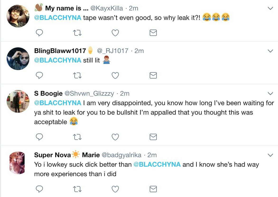 Twitter users mocked Blac Chyna after a video of her performing oral sex was leaked.