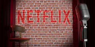 Stand-up comedy stage with Netflix logo