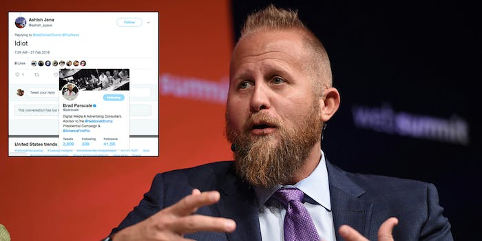 Brad Parscale, President Donald Trump's campaign manager for his 2020 reelection campaign, liked a tweet on Tuesday where someone referred to the president (or someone defending the president) as an 'idiot.'