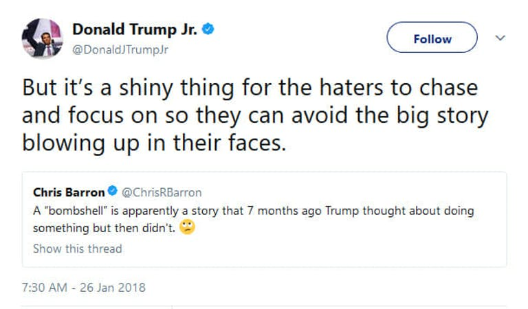 Donald Trump Jr. reacted similarly to Sean Hannity to the latest report that Donald Trump tried to fire Special Counsel Robert Mueller.