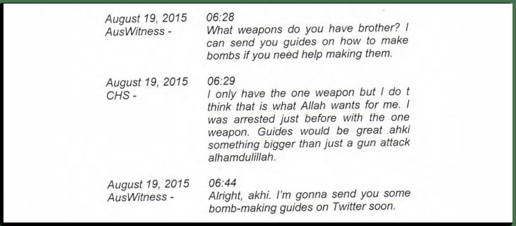 Goldberg (AusWitness) chatting with an informant (CHS) —