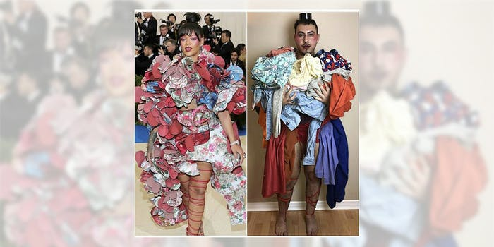 Met Gala memes : Rihanna's dress compared to a man holding his laundry