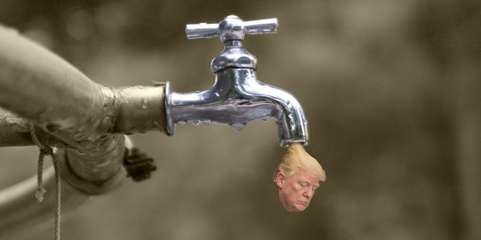 Trump head leaking from water faucet