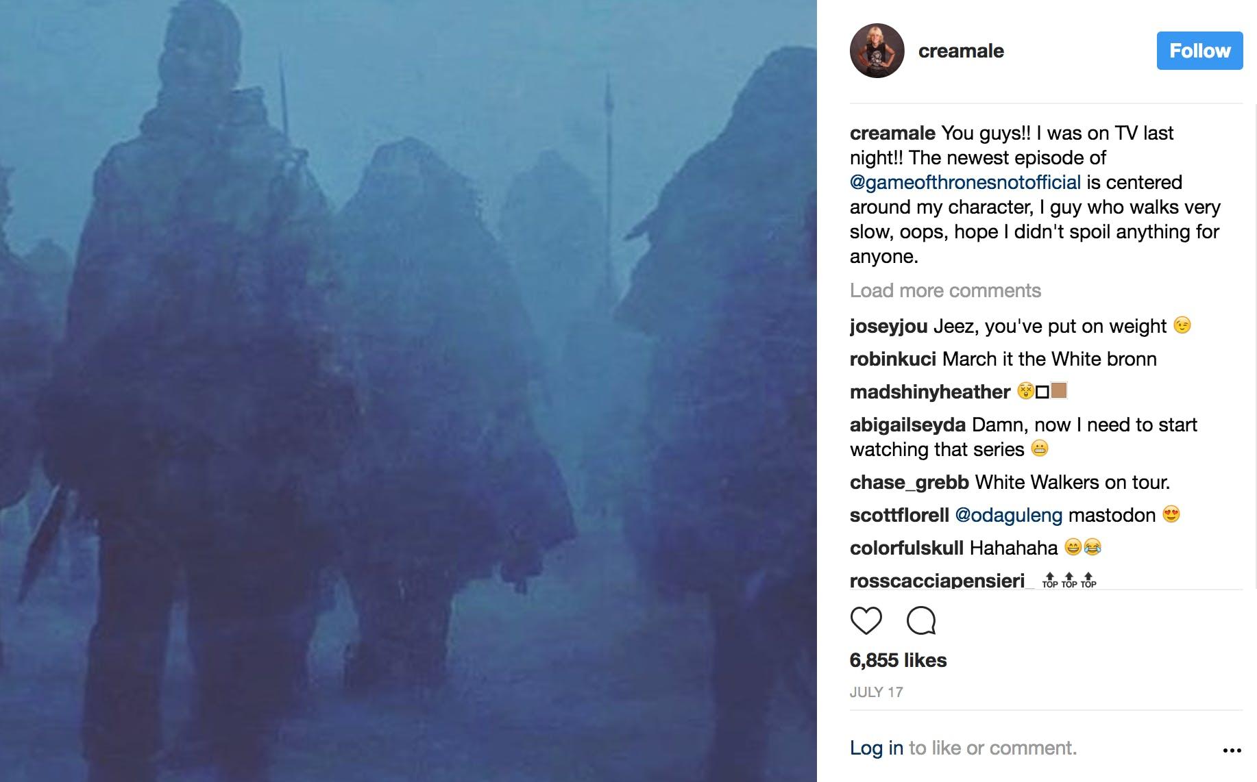 Brann Dailor on Game of Thrones