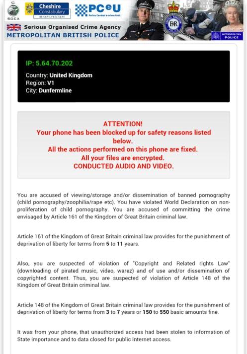 Android Ransomware warning screen U.K.